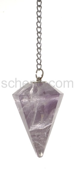 Pendulum with drop-shaped Amethyst, facet cut, with chain