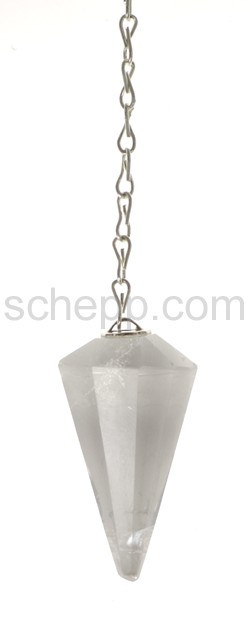 Pendulum with drop-shaped rock crystal, facet cut, with chain