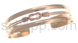 Bangle, copper stripes with knot