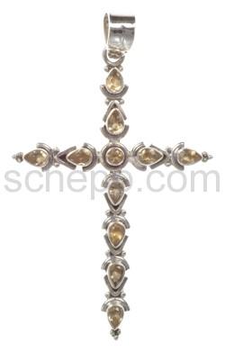 Anhänger Kreuz, Citrine mit Facettenschliff, groß