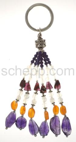 Schlüsselanhänger mit Silberperlen und Halbedelsteinen