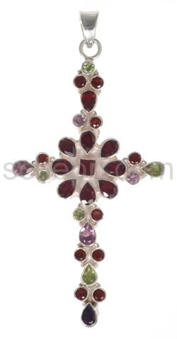 Anhänger Kreuz, Granate, Amethyste und Peridote mit Cabochonschl