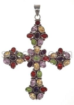 Anhänger Kreuz, Granate, Amethyste, Peridote, Iolithe und Citrin