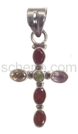 Anhänger Kreuz, Granate, Amethyste und Peridote, Facettenschliff