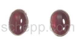 Ear studs, small garnets, oval