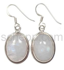 Drop earrings, moonstone, oval