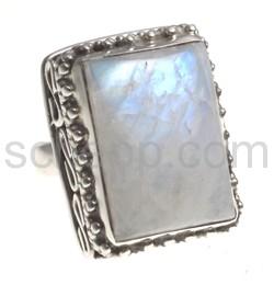 Ring mit Mondstein, rechteckig, groß