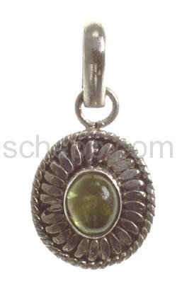 Anhänger, grüner Peridot, oval