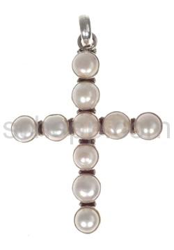 Anhänger Kreuz, Perlen