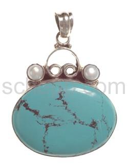 Anhänger, Türkis mit Perlen, oval