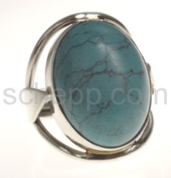 Ring with turquoise, oval, large
