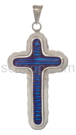 Anhänger, Kreuz aus blauem Murano-Glas