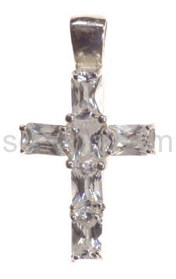 Anhänger, Kreuz mit weißen Zirkonia