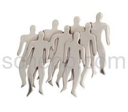 Brosche Menschengruppe, flach