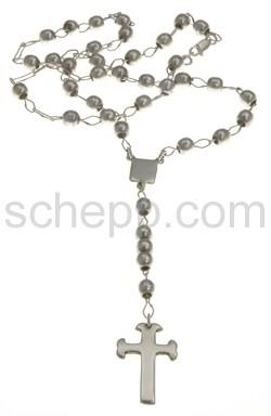 Rosenkranz mit Silberperlen, lang