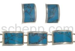 Set aus Gliederarmband und Ohrsteckern, synthetischer Türkis