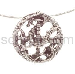 Pendant, amulet dragon with cross