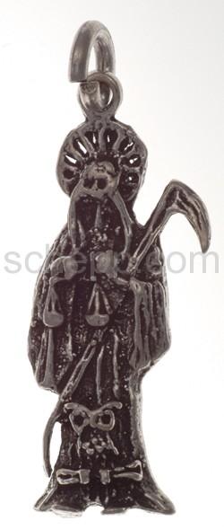 Anhänger, Totenfigur mit Sichel, Waage und Eule