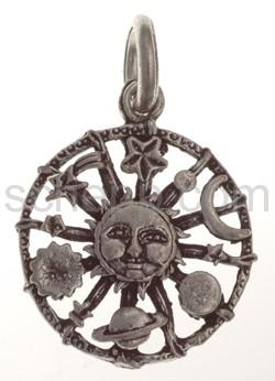 Anhänger, Sonne mit Gestirnen (Mond/Sternschnuppe), klein