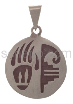 Pendant Indian jewellery, bear\s paw and ornament (Hopi style)