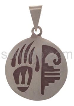 Anhänger Indianerschmuck, Bärentatze und Ornament (Hopi-Style)