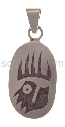 Pendant Indian jewellery, bear\s paw (Hopi style), oval