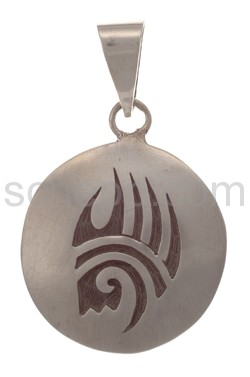 Pendant Indian jewellery, bear\s paw (Hopi style), round