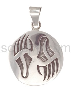 Pendant Indian jewellery, bear\s pawn (Hopi style), round