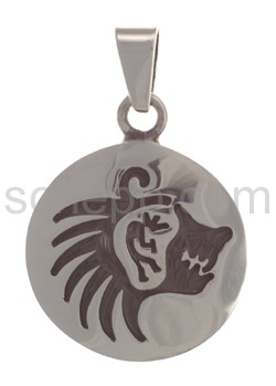 Pendant Indian jewellery, bear\s head (Hopi style), round