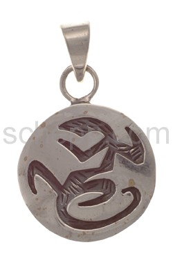 Pendant Indian jewellery, lizard (Hopi style), round
