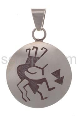 Anhänger Indianerschmuck, Kokopelli (Hopi-Style), rund