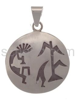 Anhänger Indianerschmuck, Kokopelli mit Lebensbaum (Hopi-Style)