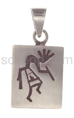 Anhänger Indianerschmuck, Kokopelli (Hopi-Style), rechteckig