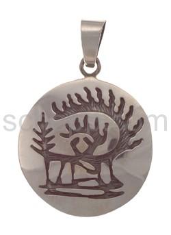 Pendant Indian jewellery, scenery with trees (Hopi style)