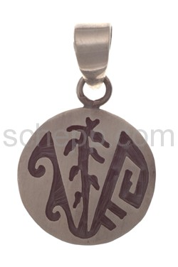 Pendant Indian jewellery, tree of life and ornaments (Hopi style