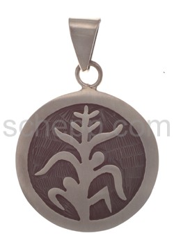 Pendant Indian jewellery, tree of life (Hopi style), round