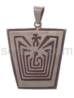 Anhänger Indianerschmuck, Man in the Maze (Hopi-Style), eckig