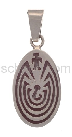 Anhänger Indianerschmuck, Man in the Maze (Hopi-Style), oval