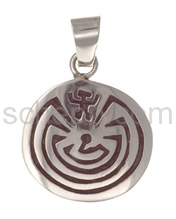 Pendant Indian jewellery, Man in the Maze (Hopi style), round