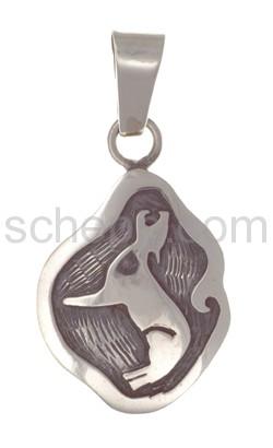 Anhänger Indianerschmuck, heulender Wolf (Hopi-Style), rund
