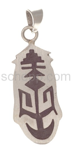 Anhänger Indianerschmuck, abstraktes Ornament (Hopi-Style), oval