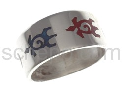 Ring with turtle motif, coloured inlay