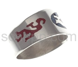 Ring with Kokopelli and tree of life, coloured inlay