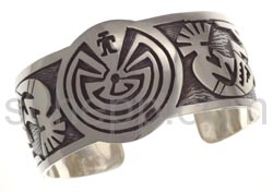 Armspange, Man in the Maze und Kokopellis (Hopi-Style), breit