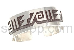 Bangle, abstract ornaments (Hopi style), wide