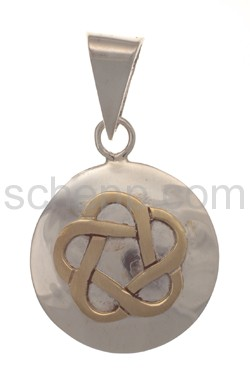 Anhänger keltisch, mit Knotenmuster, Messing auf Silber