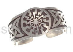Bangle with Celtic knot design and sun motif