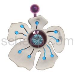 Navelshield Blüte, mit blauer Füllung