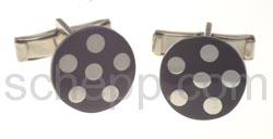 Manschettenknöpfe, mit schwarzen Punkten, rund