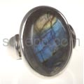 Ring with labradorite, oval